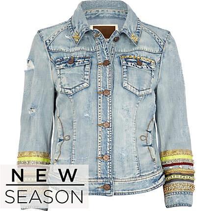 Light wash embellished sleeve denim jacket - jackets - coats / jackets - women