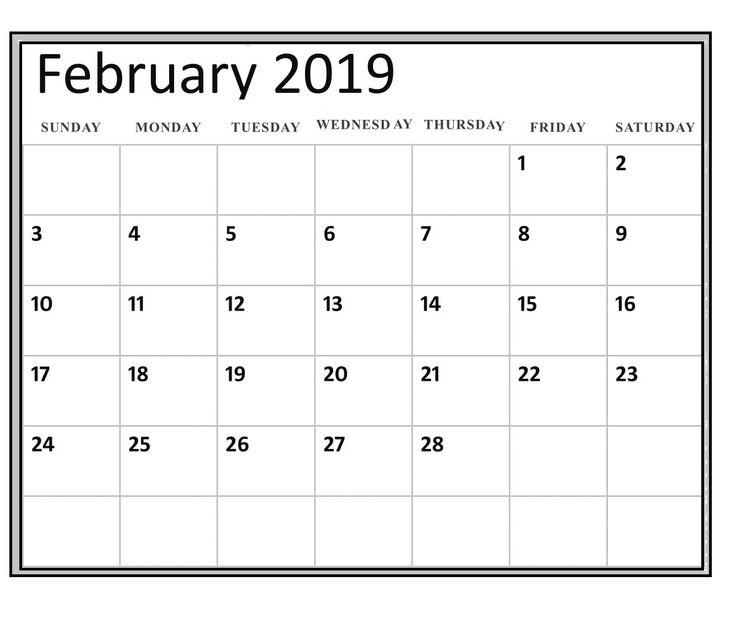 2019 Blank Calendar February Free worksheet 2019 February Blank