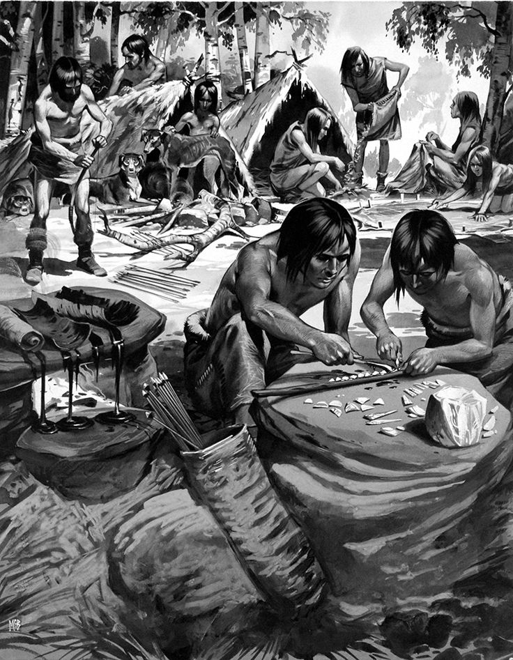 Angus McBride - The People of the Great Thaw. A vivid depiction of life in an ancient settlement of Tardenoisian people, these were the folk who migrated north from Africa into Spain and the rest of Europe after the last Ice Age.