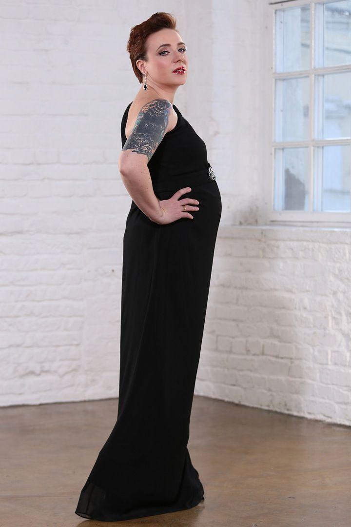 Черное вечернее платье для беременных от Badgley Micshka - аренда на next2u.ru