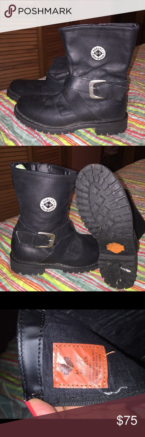 Harley Davidson ladies leather boots Black leather size 6 1/2. EUC! White look in pictures is dust from not being worn. Some gravel in bottom of heel. Will remove before shipping. Open to offers! Harley-Davidson Shoes Heeled Boots