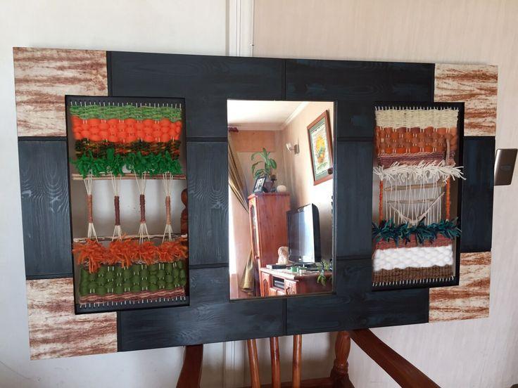 Telar Decorativo con espejo 1.20 x70 cms