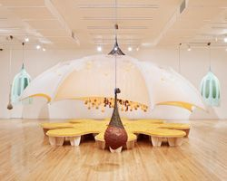ernesto neto sets sensory sculptures within the aspen art museum