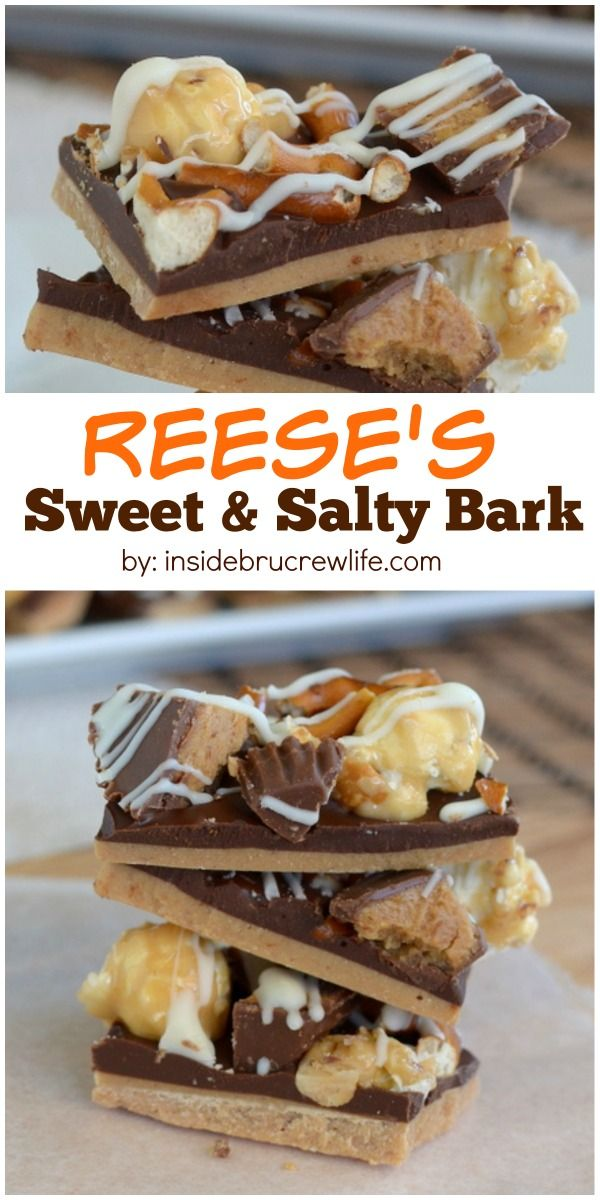 This easy no bake chocolate treat has peanut butter cups and pretzels for a great sweet and salty taste. Awesome dessert recipe for the holidays!