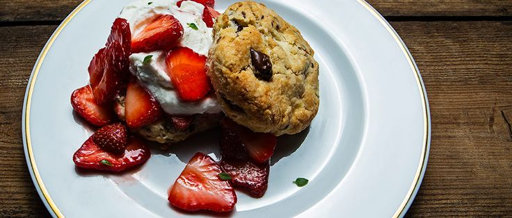 Erik Niel of Chattanooga's Easy Bistro adds chocolate pieces to his biscuits for a richer spin on strawberry shortcake.