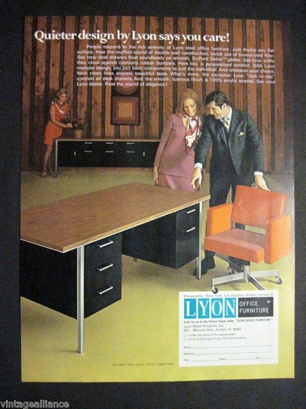 1971 Lane Steel Office Furniture 70's Ad