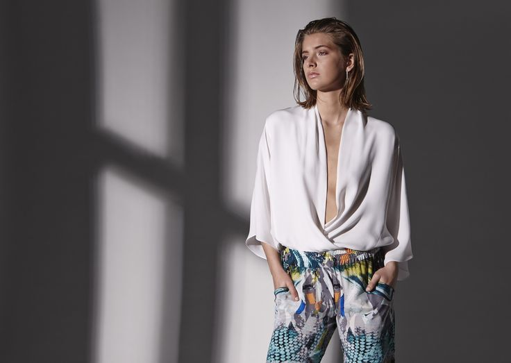 Georgette fold over top and amazon printed silk soft pant.