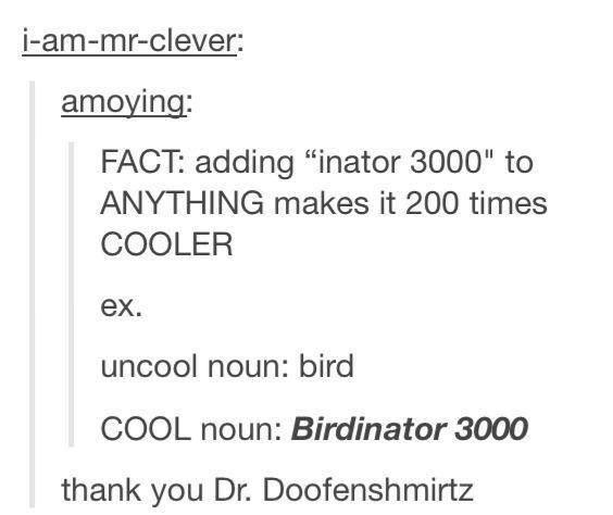 Birdinator 3000 - thank you Dr. Doofenshmirtz