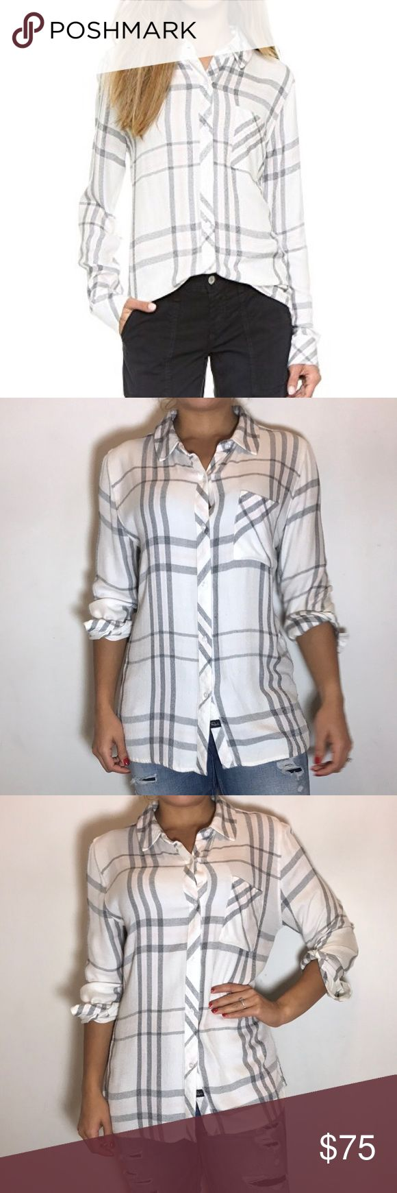 Rails 'Hunter' White Plaid Shirt Rails 'Hunter' Shirt in White Sky Melange Plaid. -Size M. -Long sleeves; single-button cuffs. -Patch pocket at left chest. -Relaxed silhouette, shirttail hem. -Rayon. -Excellent condition.   NO Trades. Please make all offers through offer button. Rails Tops Tank Tops