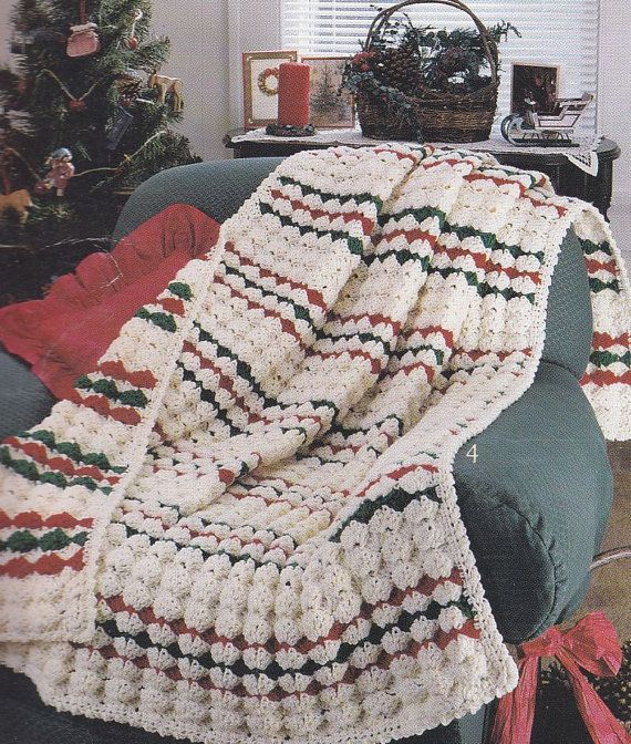 Crochet Afghan Patterns Christmas : Christmas Afghan Crochet Patterns - 4 Designs - Red, White ...