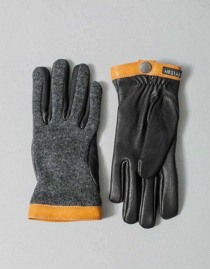 Deerskin Wool Tricot Glove - Charcoal/ Black