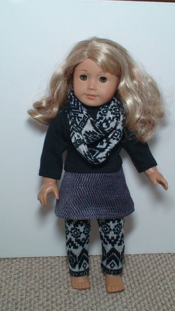 4 pièces équiper poupée, tenue de poupée pour AM G, équiper de poupée de 18 pouces, 18 pouces Doll jupe, chemise, jambières et écharpe, tenue de poupée en gris noirs