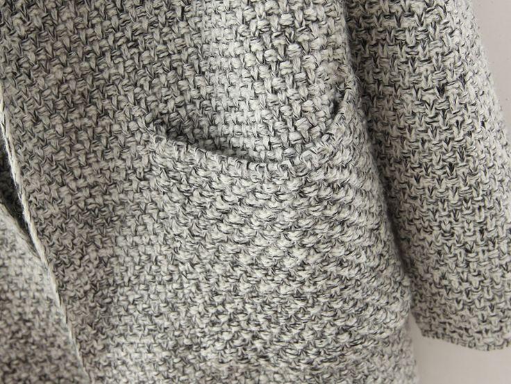 Buy Grey Lapel Long Sleeve Pockets Sweater Coat from abaday.com, FREE shipping Worldwide - Fashion Clothing, Latest Street Fashion At Abaday.com