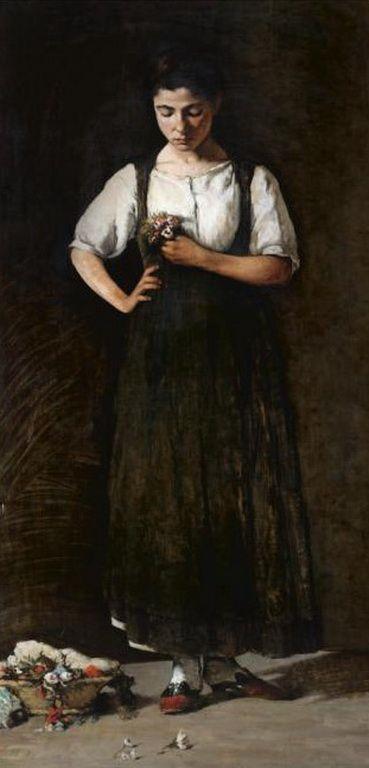Nikolaos Vokos, Greek painter 1859-1902 - 'Young Girl with Flowers'