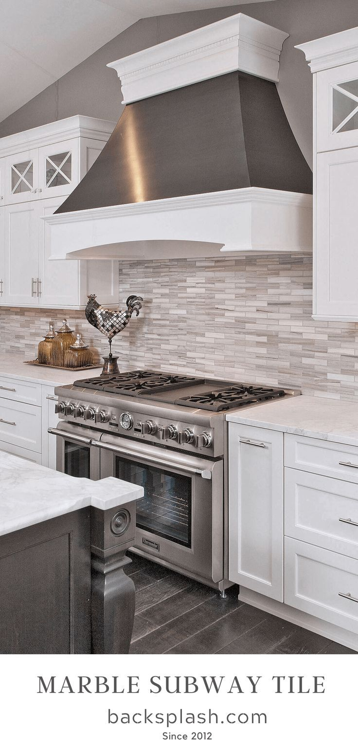 Modern White Gray Subway Marble Backsplash Tile In 2020 Modern