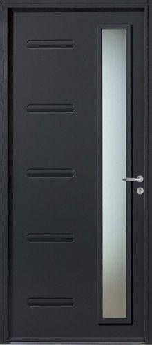 Porte acier, Porte entree, Bel'm, Contemporaine, Poignee rosace couleur argent, Mi-vitree, Double vitrage rectangulaire sable, Esthetique, Moderne, Impala, Epaisseur 48mm