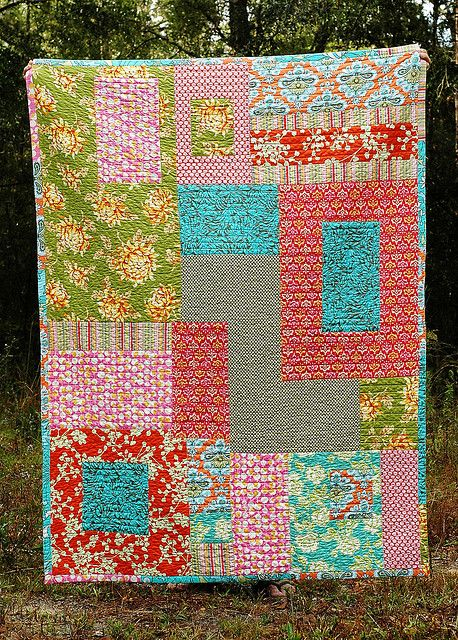 Love this lap quilt from Amy Butler's In Stitches: Quilts Fabrics, Amy Butler Fabrics, Quilts Patterns, Crafts Sewing Quilting Fabr, Quilts Misc, Seeking Amy, Photo Shared, Amy Butler Quilts, Lap Quilts