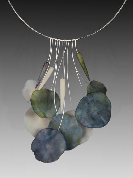amazing ... I practically never love polymer clay and I really love this ... Necklace | Laura Tabakman.  Organic Polymer and wire