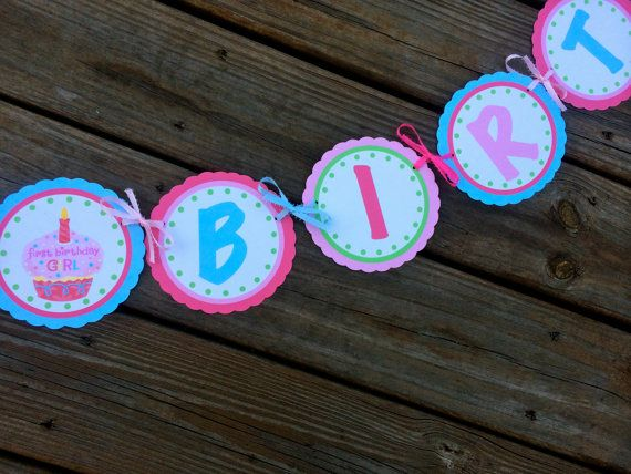 First Birthday Girl Happy 1st Birthday Bannerpink by CaringDesigns, $32.00