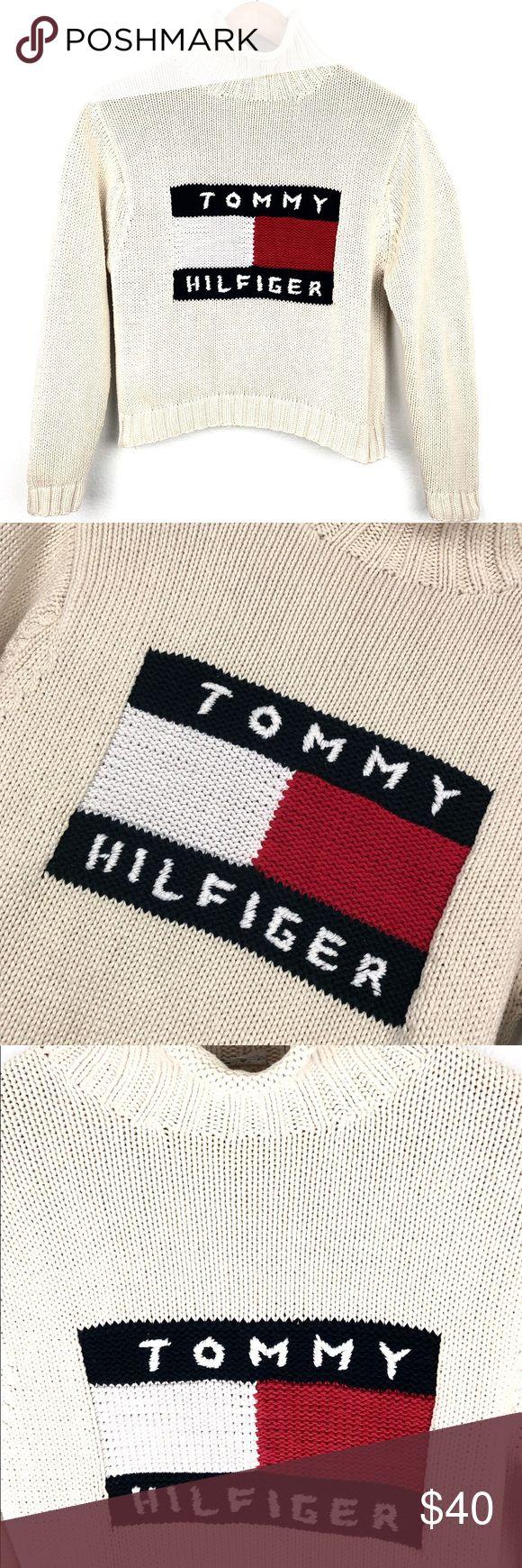 Vintage Tommy Hilfiger turtleneck sweater knit Vintage Tommy Hilfiger turtleneck sweater knit cream color Tommy flag.  👁🗨Size No size availab...