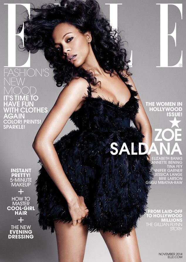 Zoe Saldana Shows Baby Bump in ELLE, Is Honored With 7 Others, Including Jennifer Garner—See the Pics!  Zoe Saldana, Elle Magazine