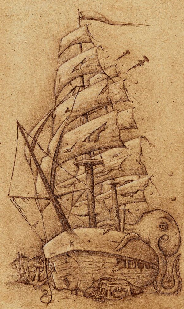 how to draw a pirate ship for beginners