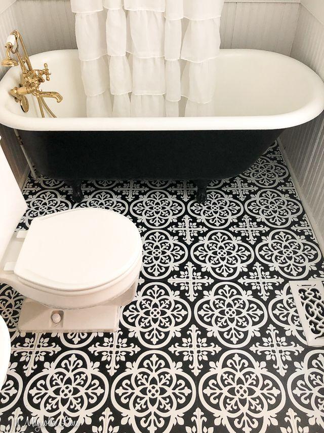 How We Installed Our Press And Stick Vinyl Floor Tiles 11 Magnolia Lane In 2020 Vinyl Flooring Tile Floor Update Small Bathroom