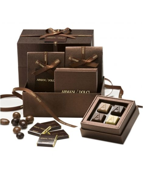 Armani/Dolci gift box containing pralines, dragées and chocolate squares