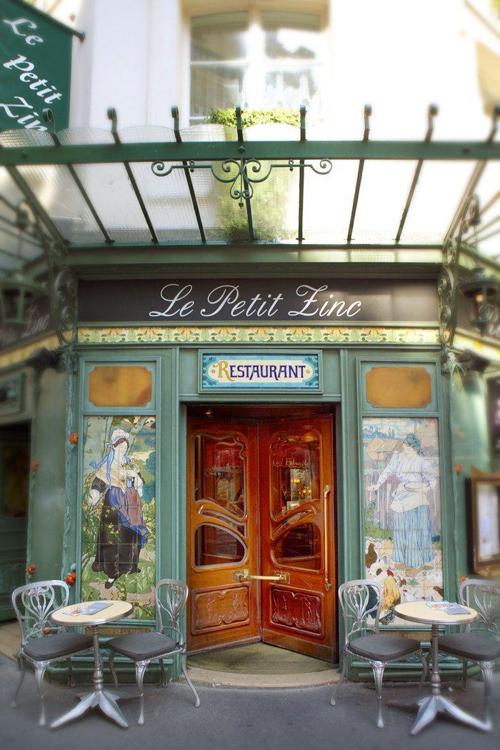 Paris Photograph - Le Petit Zinc Restaurant, Art Nouveau, Paris France, Home Decor. $25.00, via Etsy.