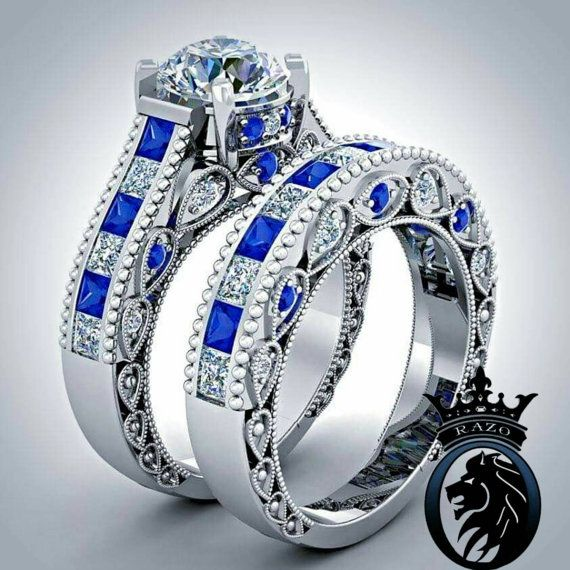 Doctor Who Inspired 6.25 CTS Total Tardis Blue Sapphire and Diamond Deluxe Engagement Bridal Ring Set Hey, I found this really awesome Etsy listing at https://www.etsy.com/listing/242998939/doctor-who-inspired-625-cts-total-tardis