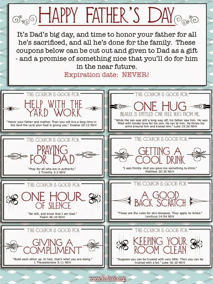 father's day coupons from kids | Father's Day Coupons ...