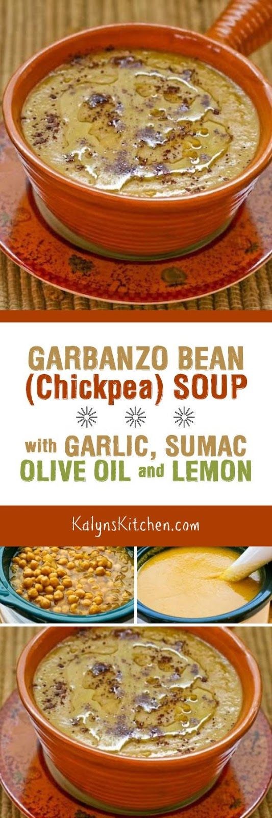 You can make this delicious Garbanzo Bean (Chickpea)  Soup with Garlic, Sumac, Olive Oil, and Lemon in the slow cooker or on the stove, and this amazing soup is vegan, low-glycemic, gluten-free, and South Beach Diet friendly. [from KalynsKitchen.com]