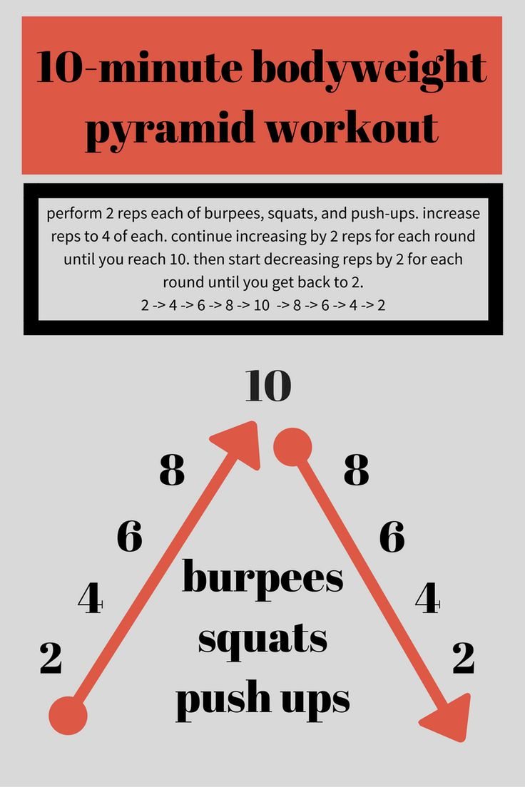 You have no excuses! This 10-minute bodyweight pyramid workout is a great way to keep burning calories throughout the December craziness.