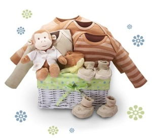 The Organic Monkey Business Gift Basket features BNature clothing products and an adorable monkey from Miyim, all organic, soft and wonderful. We selected BNature products for their thick, soft and stylish feel and looks. Included are 2 baby onsies, footed leggins, gown, booties and romper.  http://www.babygiftemporium.com/babygiftbaskets.html