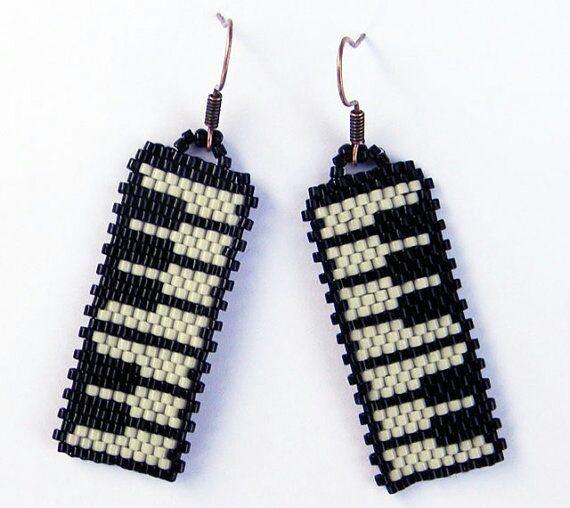 Brick Stitch Piano Earrings