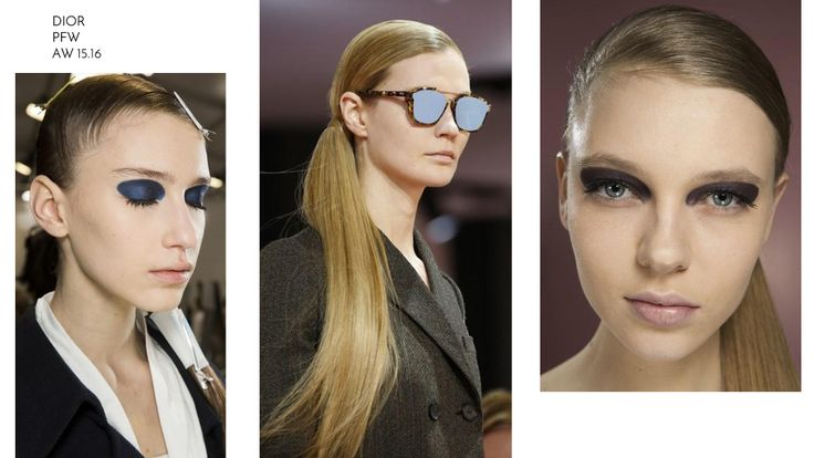 Dalle sfilate di Parigi PFW in scena da Dior AI 15/16 il makeup occhi deciso, denso e compatto che non cede alle sfumature. Per i capelli torna, come nell'Alta Moda, una gran coda, questa volta bassa, laterale e lunghissima