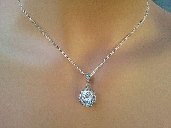 Clear Wedding Necklace Wedding Bridal Bridesmaid by LaLaCrystal