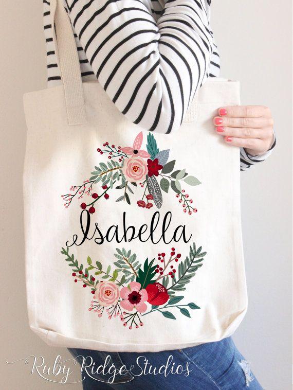 Personalised Name Marsala Floral Wreath Tote by RubyRidgeStudios