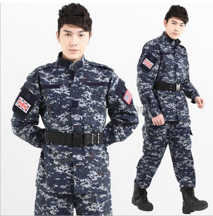 Ocean Digital Camouflage Tactical Uniform Suit Sets Army Military Combat Airsoft Jacket Pants for Hunting Shooting