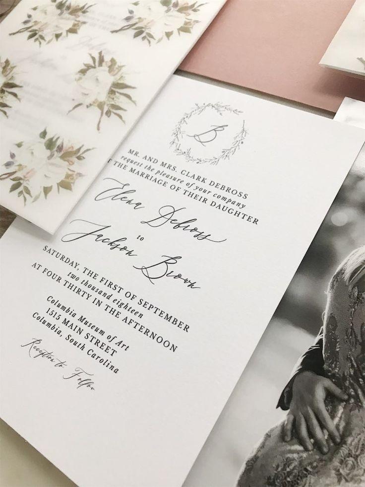 lotus flower wedding invitations%0A Custom Wedding Stationery Vellum Wedding Invitations by Unica Forma  dusty  rose vellum wedding invitations