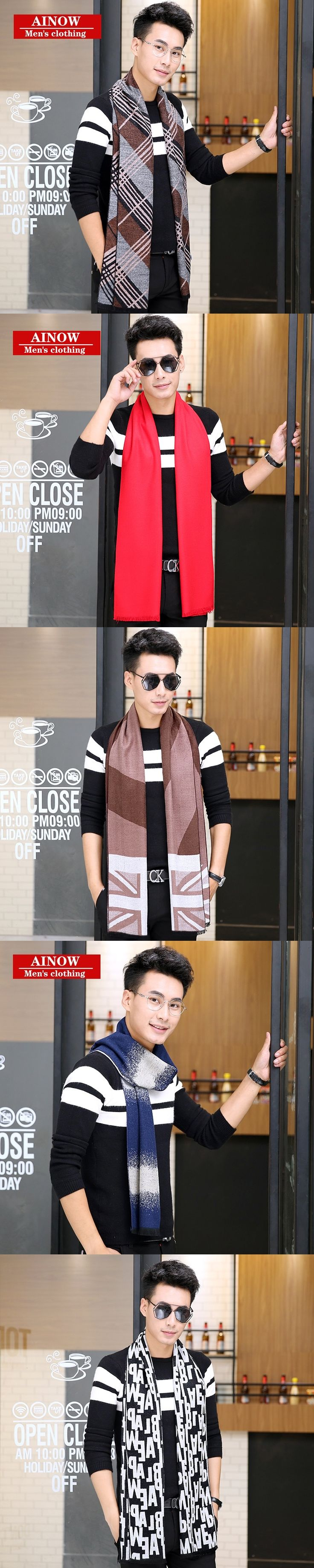 2017 New Brand Winter Scarf Men Scarves For Christmas Gift 20 Colors Plaid Blanket Scarf Fashion 180*30 Male Shawls And Scarves