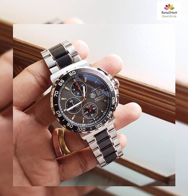 REPOST!!!  Tag Heuer Chronograph Stainless steel Luxury watch.A signature of pure luxury and excellence.For orders whatsapp:+919796553707.[Price:-₹3449]#Watch #Imported #best #quality #price #fossil #hublot #taghuer #brietling #leather #luxury #chronograp