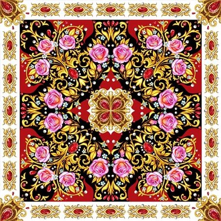 Square composition with roses,golden elements and rubies by Maria Rytova  #pattern #textile #background #backing #paper #work #纹样 #damask #арт #картинки #picture #decoupage #декупаж #дамаск #узоры #barok #baroque #wallpaper #design #卷草 #flower #图案 #фон #print #принт #printable #papel #ornament  #seamless #golden #luxury #surface #rose #floral #decorative #decor #vintage #tile #бордюр #border