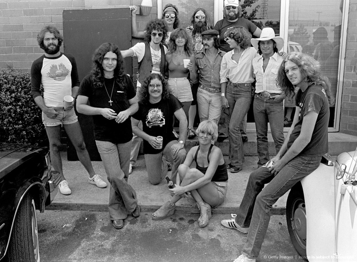 Most of the group assembled for a photo in front of Studio I. Included in the photo are Lenny LeBlanc, Gary Rossington, Billy Powell, Jimmy Hall, Artimus Pyle, Bonnie Bramlett, Dickey Betts, Charlie Daniels, Taz DiGregorio and Allen Collins.