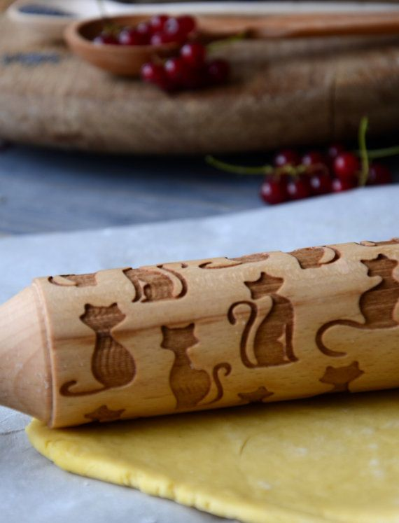 Cat Rolling Pin Custom Engraved Personalized Cat lover Christmas Gift for Mom Women Grandmother Kids Children Baking Winter Cooking | 22 |   Welcome to our shop!  Rolling pins and rollers are made of birch or beech wood. Also they are covered with oil in order to keep rolling pins in good condition during utilization. With rolling pin you will receive a recipe for wonderful cookies 🍪 Also it can be used with play-dough, salt dough, mastic etc.  Dimensions…