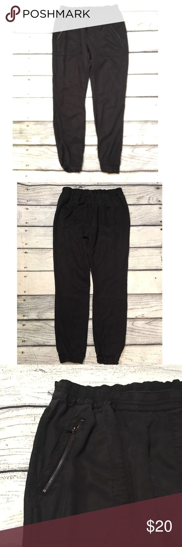 Sam Edelman black soft jogger pants M Preowned Woman's Sam Edelman Black jogger style pants elastic waist the bottom hem has elastic too has pockets  one of the back pockets has some snags it's looks like see last picture. I feel like it's not noticeable cause it's black. Soft material Size medium see measurements in pictures. Sam Edelman Pants Track Pants & Joggers