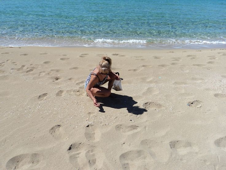 Here I am in the winter, collecting seashells on one of Crete's stunning Beaches, for my Mosaic Collages.