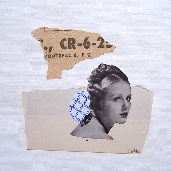 CR-6 by Jen Gibbs  original collage on paper  minimalist, art, face, woman, number, paper, recycled