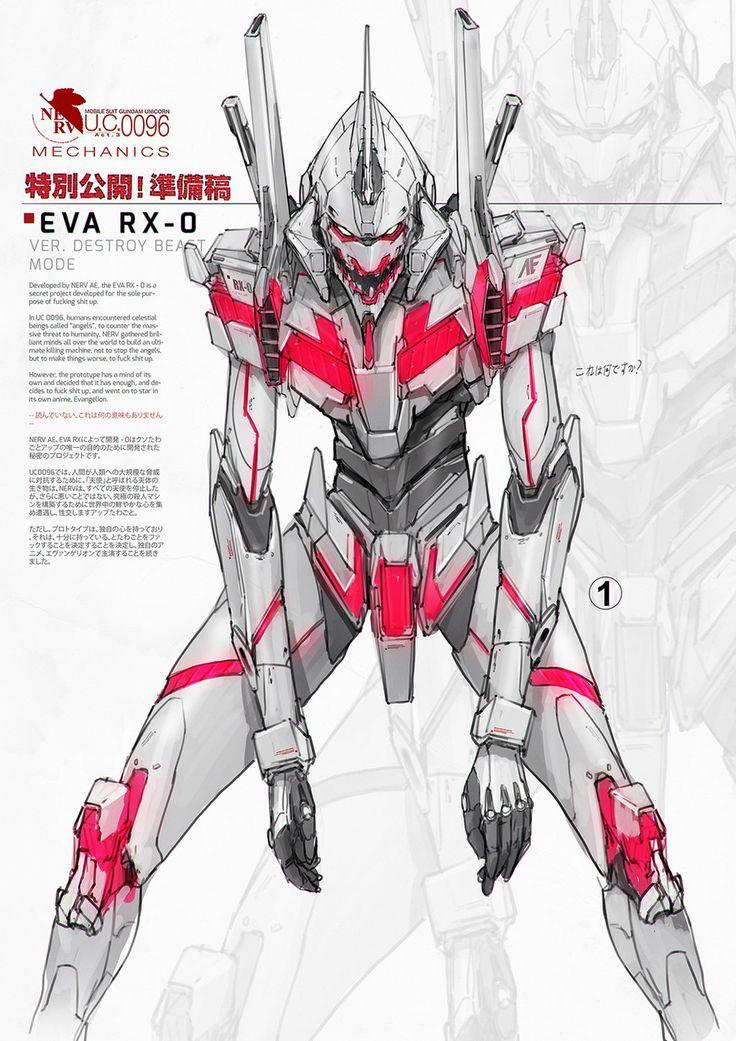 Eva RX-0 by johnsonting on DeviantArt/ Gundam Unicorn/Evangelion
