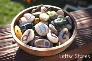 Make your own letter stones with stickers, rocks and Modge Podge. Perfect for learning letter identification, spelling, phonics etc...and hands on!